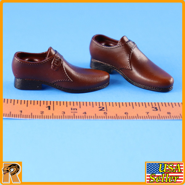 WWII US Army Officer B - Brown Dress Shoes - 1/6 Scale -