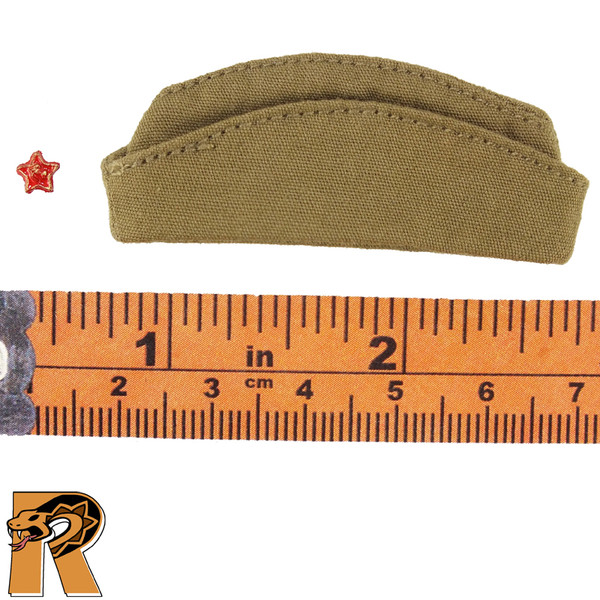Soviet Red Army - Side Cap Hat & Badge - 1/6 Scale