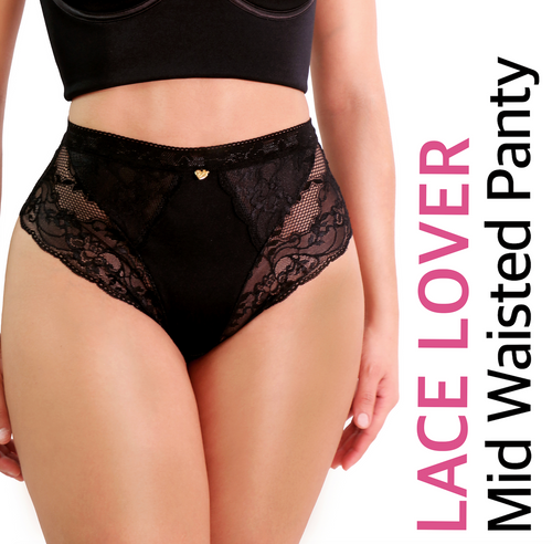 LACE LOVER  MID WAISTED PANTY