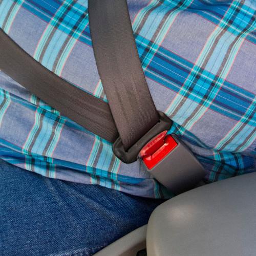GEO Car Seat Belt Extender buckling up a plus-size passenger