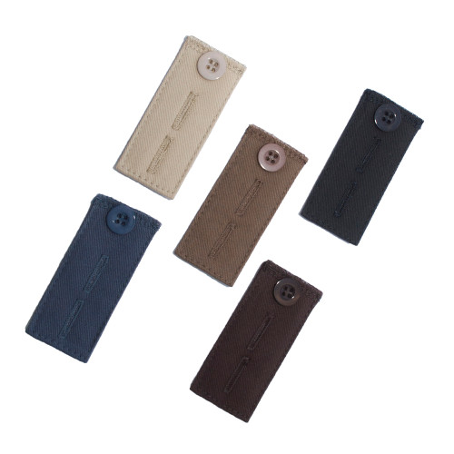 Pant Waistband Button Extender (5-Pack) front - Black, Brown, Khaki, Navy and Taupe