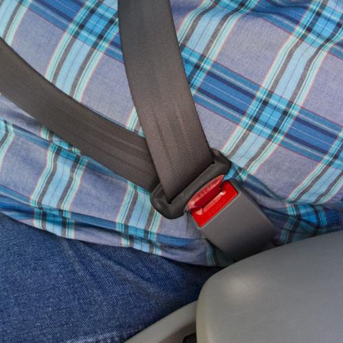 Ford Car Seat Belt Extender buckling up a plus-size passenger