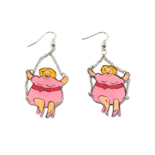 Fat Girls Swing Earrings - Blond Fat Girl in a Pink Dress