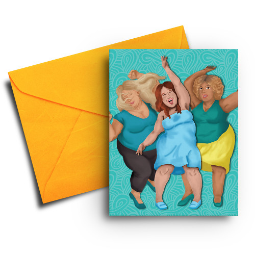 Note Card of Three Happy Women Dancing