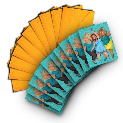 Note Card of Three Happy Women Dancing (pack of 10)