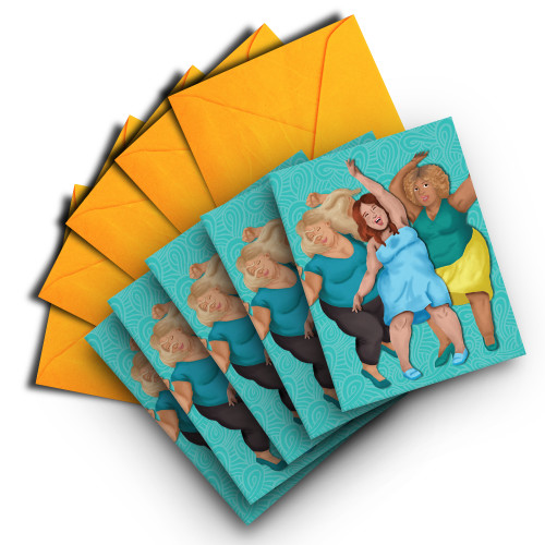 Note Card of Three Happy Women Dancing (pack of 5)