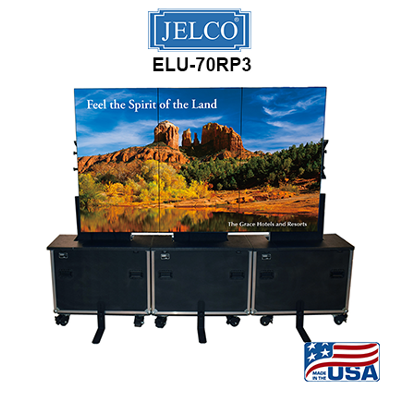 ELU-70RP3: RotoLift™ 3x1 Video Wall Lift Case for Sharp PN-V701