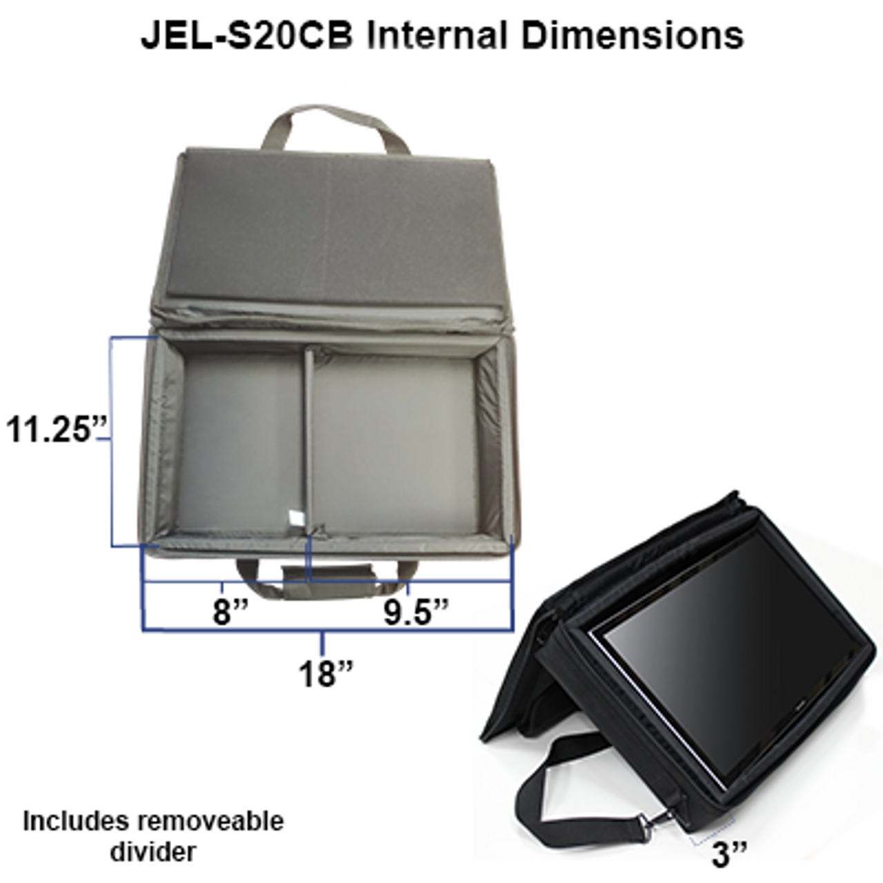 """JEL-S20CB: Carry Bag for 15-18"""" Touch Screens"""
