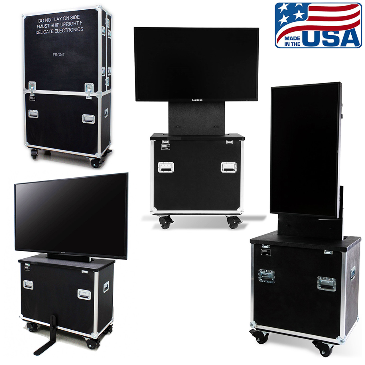 RotoLift lift cases store in portrait mode.  The cases save space and safely transport your display to and from your location