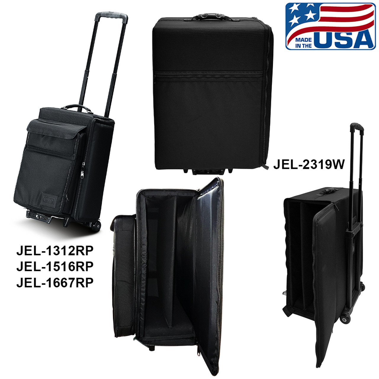 Side loading padded laptop bag with wheels and extension handle