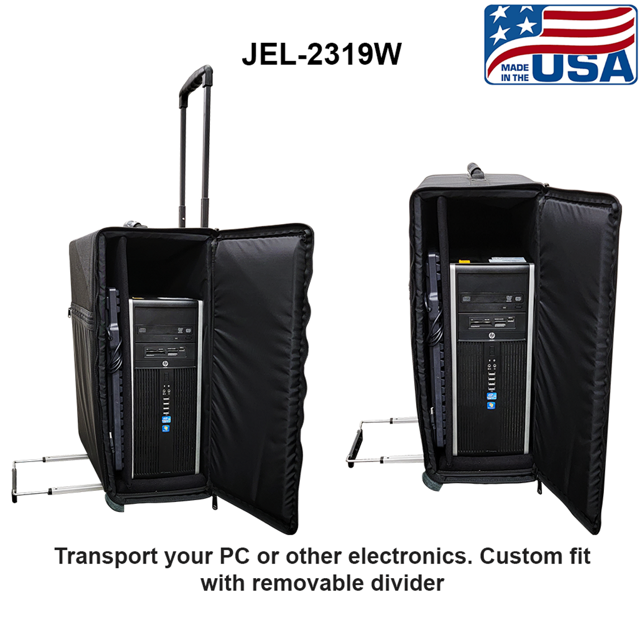 Wheeled bag with extension pull handle. Side loading for electronics