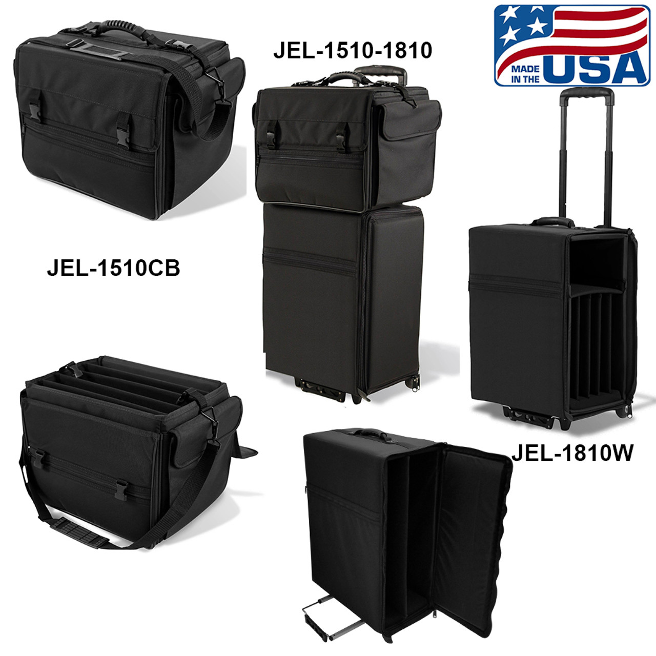 Wheeled and carry bag for multiple laptops and accessories.  Each bag fits up to five laptops