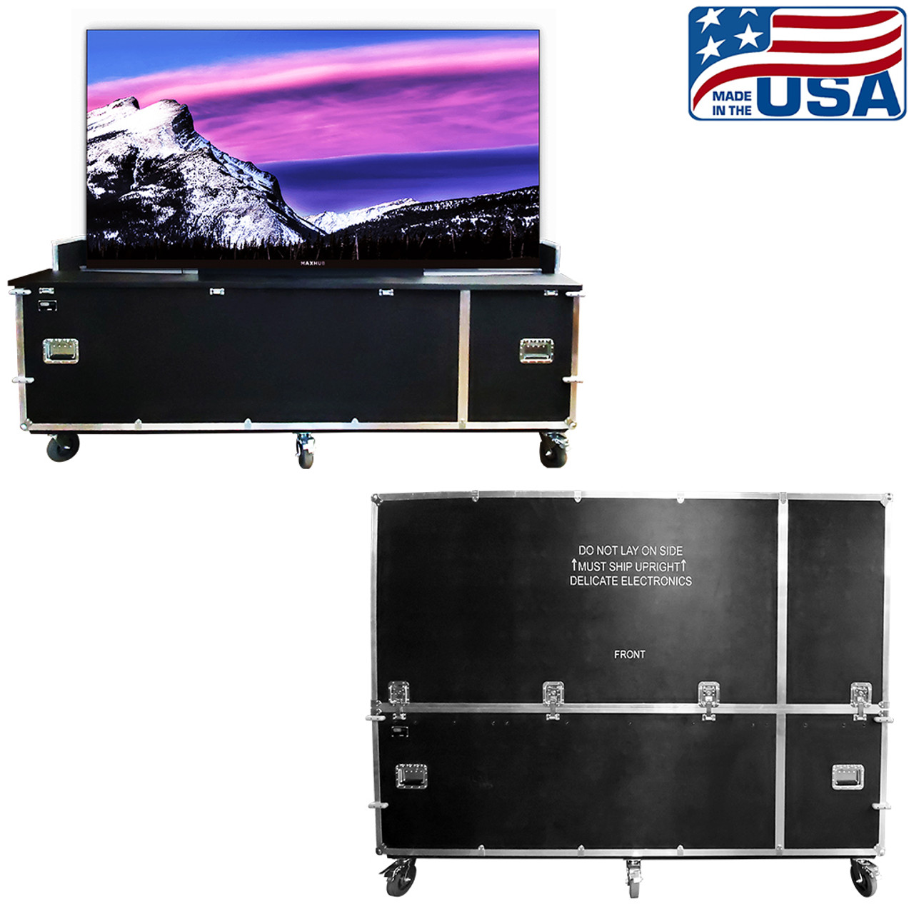 MaxHub LED wall in low position for ease of viewing. EZ-LIFT lift cases makes setup and travel efficient for the MaxHub LED wall