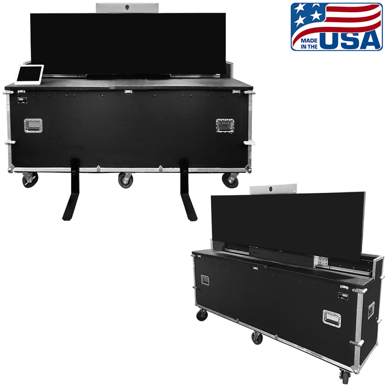 LG display 88 inch Stretch with Cisco Room Kit in an EZ-LIFT lift case for easy transport, setup, and travel