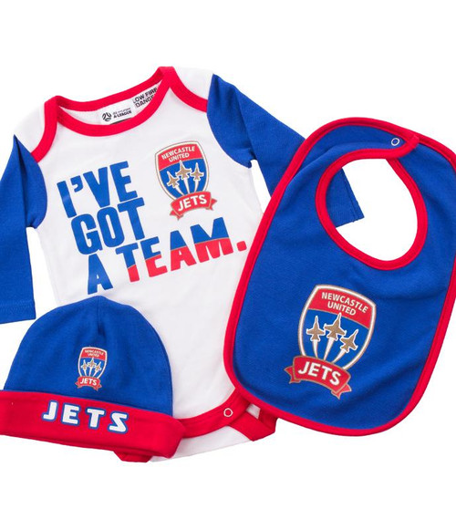 on sale 40514 26922 Newcastle Jets FC Baby Bodysuit, Bib and Beanie Gift-Set