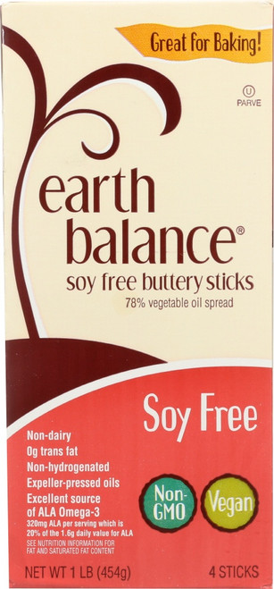 Earth Balance, Soy Free Buttery Sticks, 79% Vegetable Oil Spread