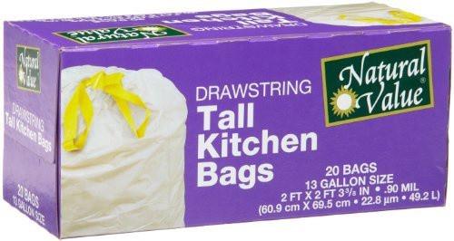 13 Gallon Drawstring Tall Kitchen Bags, 20 Bags