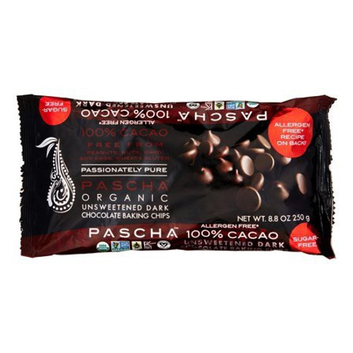 Unsweetened  Dark Chocolate Chips, 100% Cacao, 8.8 oz