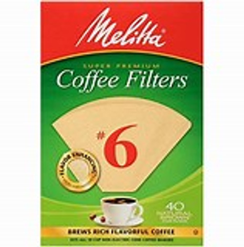 Melitta Cone Coffee Filters, Natural Brown, No. 6, 40-Count