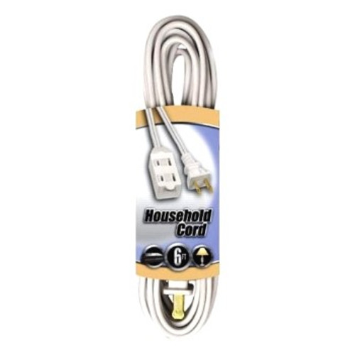 Extension Cord With Safety Cover, White, 6-Feet
