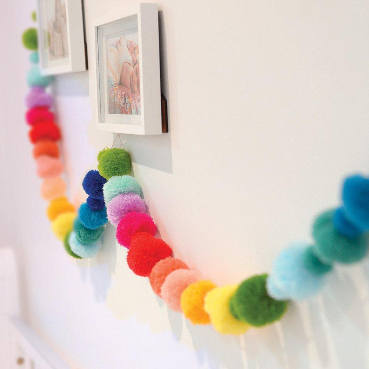 O B Designs Pom Pom Garland Rainbow Bubbalooz