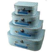 Mini Nesting Suitcases - Blue Gingham [PRICED FROM $15]