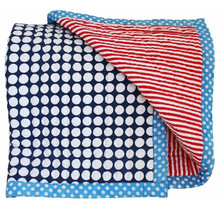 Alimrose Cot Quilt - Reversible Blue and Red Stripe