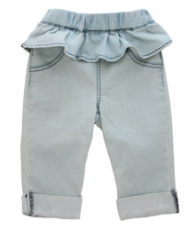 Curious Wonderland - Frill Rolled Cuff Shorts - Light Blue (LAST ONE LEFT - SIZE 1 YR)
