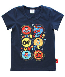 Curious Wonderland - Super Heroes Unite Tee - Navy (LAST ONE LEFT - SIZE 4 YEARS)
