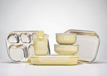 Kangovou 9 Piece Stainless Steel Dishware Set - Lemon Zest