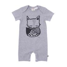 Milk & Masuki Short Sleeve Button All - Sleepy Fox (LAST ONE LEFT - SIZE 0-3M)
