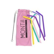 Montii Reusable Silicone Straws (6 Pack) - Pink