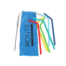 Montii Reusable Silicone Straws (6 Pack) - Blue