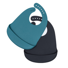 We Might Be Tiny Catchie Bibs - Blue Dusk + Charcoal
