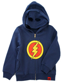 Curious Wonderland Lightning Mask Hoodie - Blue (LAST ONE LEFT - SIZE 1 YEAR)
