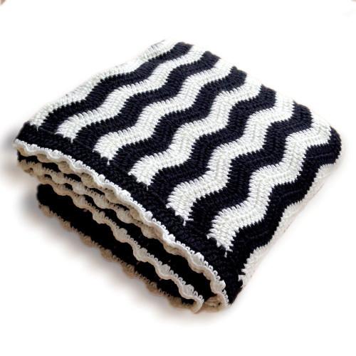 O.B. Designs Crochet Blanket - Black & White