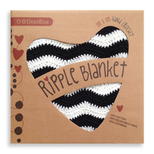 O.B. Designs Ripple Blanket - Black & White