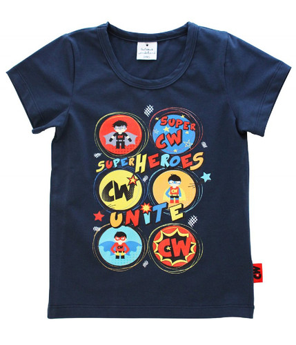 Curious Wonderland - Super Heroes Unite Tee - Navy (ONLY SIZE 1 & SIZE 4 YEARS LEFT)