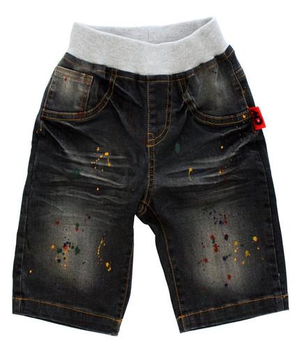 Curious Wonderland - Paint Splatter Denim Shorts - Dark Grey (ONLY SIZE 1 YEAR LEFT)