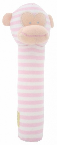 Alimrose Monkey Hand Squeaker - Pink Stripe