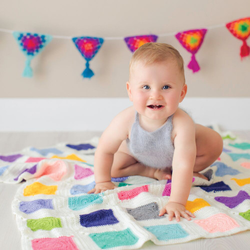 O.B. Designs Crochet Blanket - Patchwork Rainbow