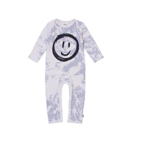 Milk & Masuki Full Body Button All - Splatter Smiley Face (LAST ONE LEFT - SIZE 1 YEAR)