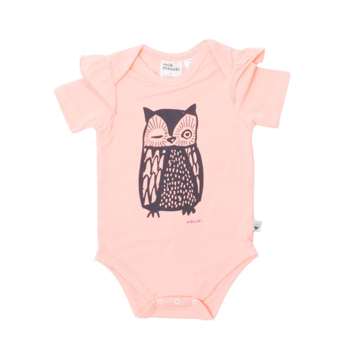 Milk & Masuki Short Sleeve Bodysuit with Ruffle - Owl (LAST ONE LEFT - SIZE NEWBORN)