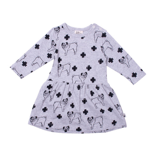 Milk & Masuki Bodysuit Dress - Pugs Meterage (ONLY SIZE 0-3 & 3-6 MONTHS LEFT)