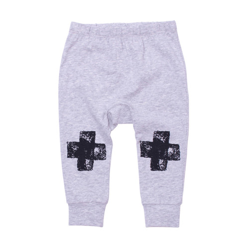 Milk & Masuki Baby Leggings - Black Knee Cross (LAST ONE LEFT - SIZE 1 YEAR)