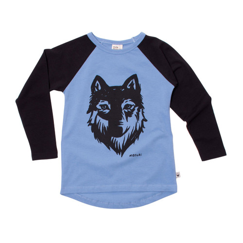 Milk & Masuki Long Sleeve Raglan - Wolf Placement (LAST ONE LEFT - SIZE 2 YEARS)
