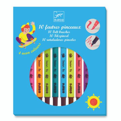 Djeco Felt Tip Pen Set - Brush Pop Colour (OUT OF STOCK)