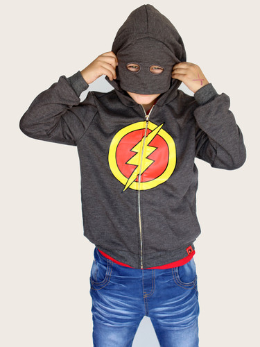 Curious Wonderland Lightning Mask Hoodie - Grey (ONLY SIZE 1 & 2 YEARS LEFT)