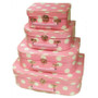 Mini Nesting Suitcases - Pink Polka Dot [PRICED FROM $15]