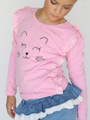 Curious Wonderland Kitty Frill Longsleeve Tee - Pink (ONLY SIZE 2 YEARS LEFT)